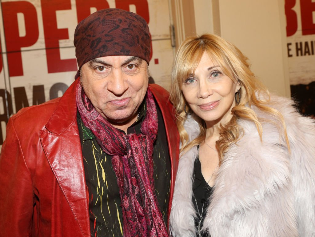 """Steven Van Zandt and Maureen Van Zandt pose at the opening night of the new Bob Dylan Musical """"Girl From The North Country"""" on Broadway at The Belasco Theatre on March 5, 2020 in New York City. 