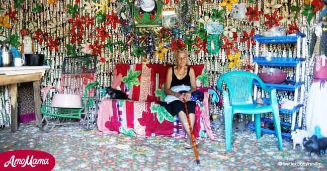 Anciana de 87 años soñó con una casa de botellas de plástico y trabajó para hacerla realidad