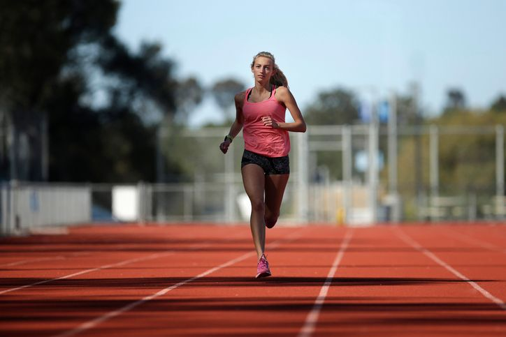 A female athlete trains on a track on a sunny day in San Diego, California.   Source: Getty Images
