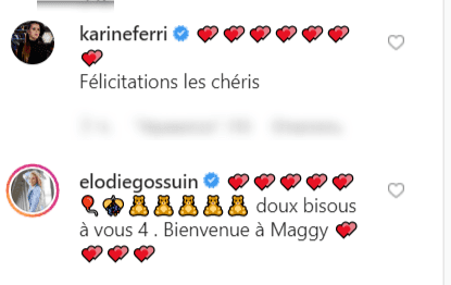 Capture d'écran du commentaire de Karine Ferry sur la publication d'Alizée | Source : instagram.com/alizeeofficiel/