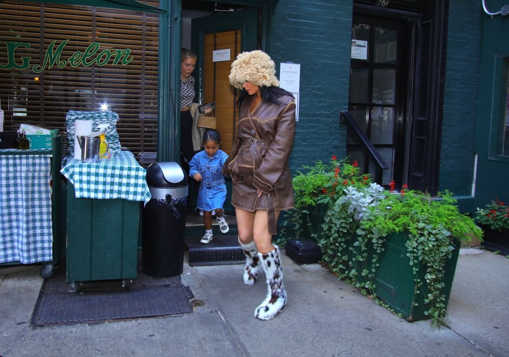 Kylie Jenner and her daughter Stormi are seen leaving a restaurant after lunch in New York, September 2021   Source: Getty Images
