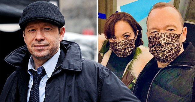 'Blue Bloods' Star Donnie Wahlberg & Marisa Ramirez Pose on Set in Matching Cheetah Face Masks