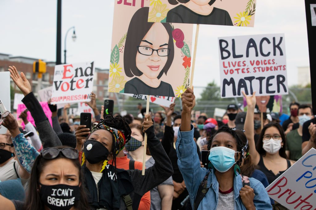 Protesters chant while gathered for the March On Georgia, organized by NAACP, on June 15, 2020   Photo: Getty Images
