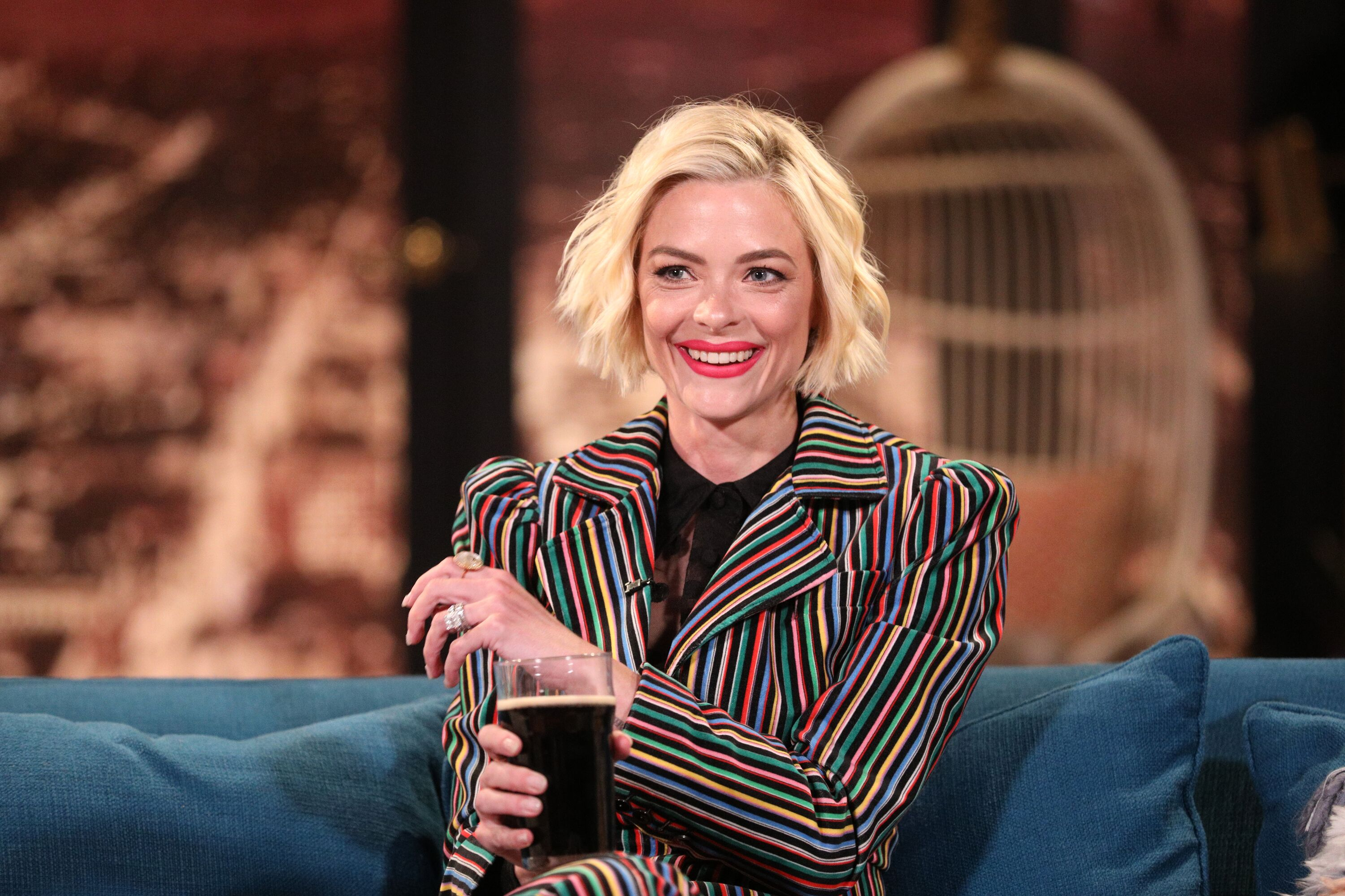 "Actress Jaime King on the set of talk show ""Busy Tonight"" 