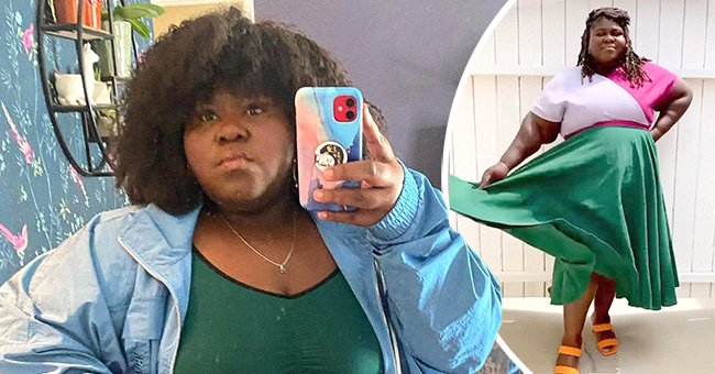 Gabourey Sidibe taking a mirror selfie, and next, the actress donning a pink top and green skirt while posing for the camera.   Photo: Instagram/gabby3shabby