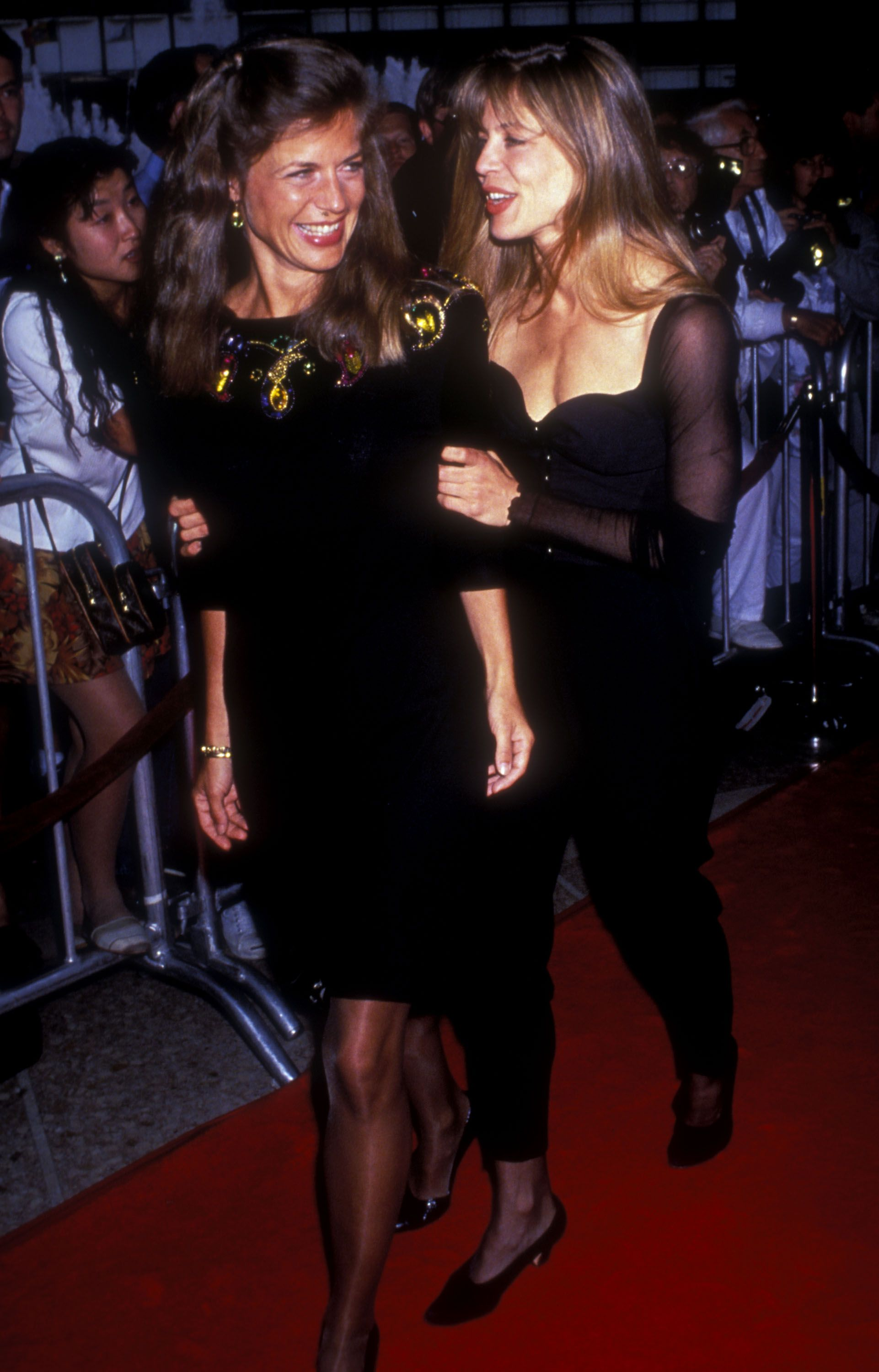 """Linda Hamilton and Leslie H. Freas during premiere of """"Terminator 2: Judgment Day"""" at Cineplex Odeon in Century City, CA, United States in 1991.   Photo: Getty Images"""