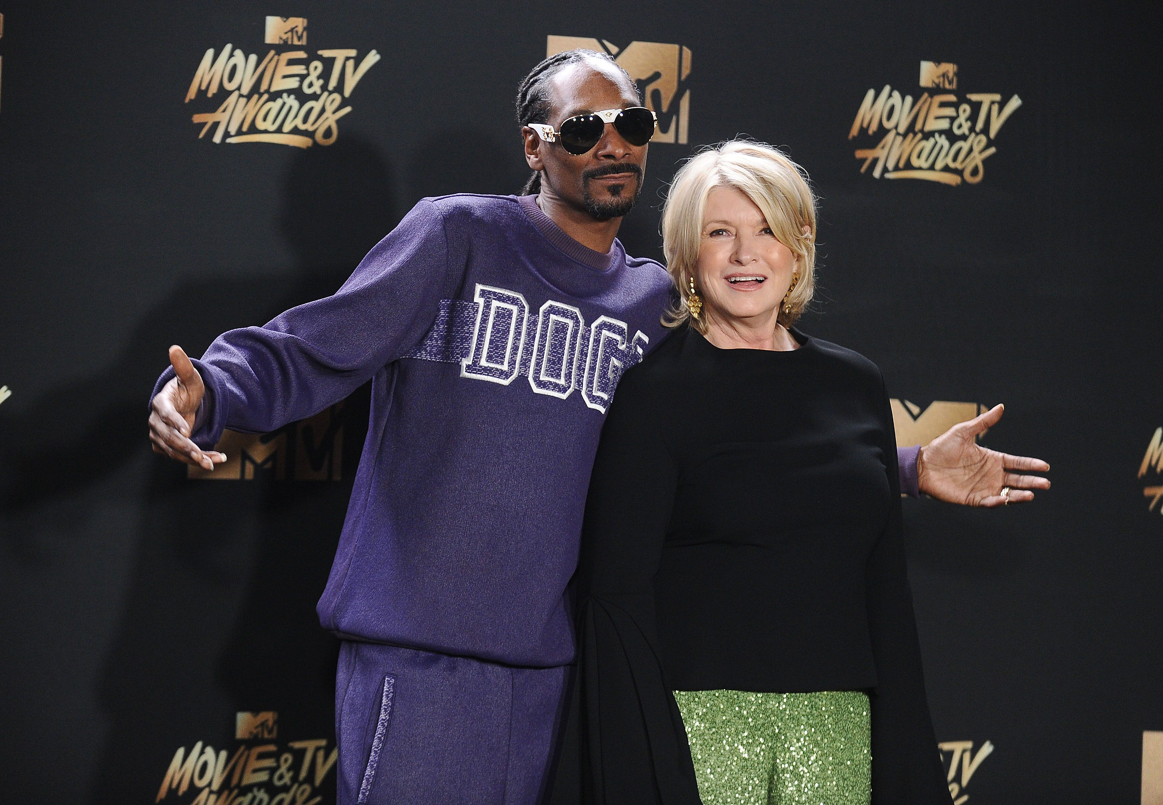 Snoop Dogg and Martha Stewart at the 2017 MTV Movie and TV Awards in Los Angeles | Source: Getty Images