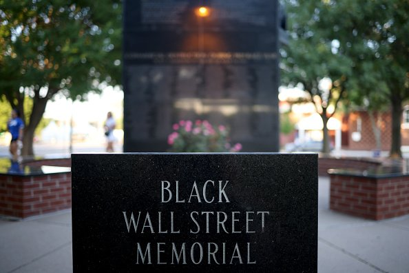 The Black Wall Street Massacre memorial is shown June 18, 2020 in Tulsa, Oklahoma. | Photo: Getty Images