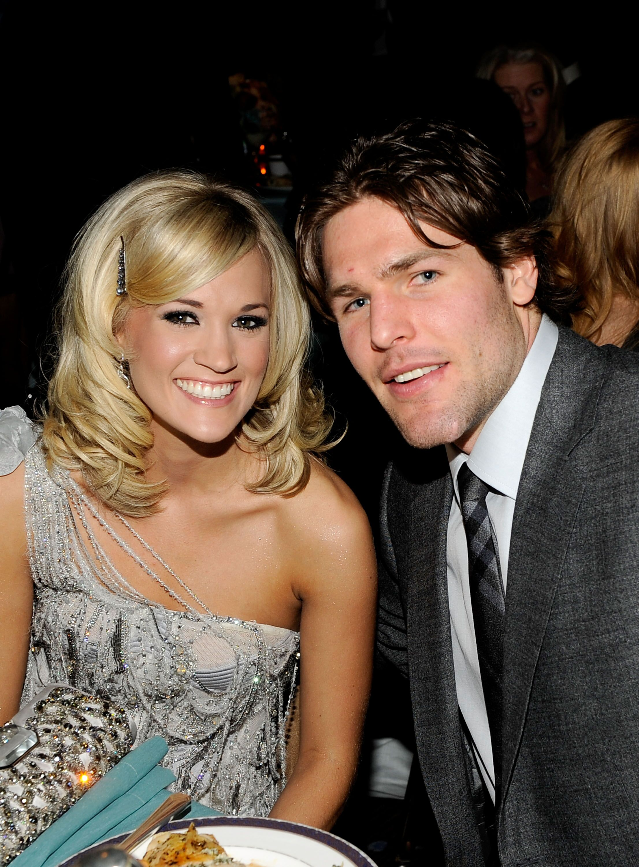 Carrie Underwood and Mike Fisher during the 52nd Annual GRAMMY Awards. | Source: Getty Images