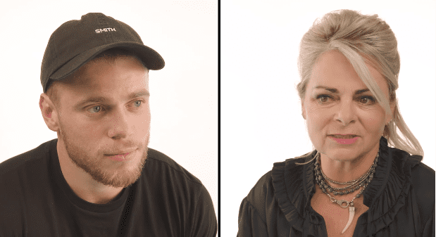 Gus Kenworthy and his mother Heather talking about his coming-out story   Photo: YouTube/them