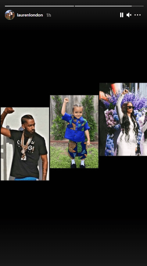 Lauren London shared a picture of her ex husband, her and their kid with their arm raised and fists bunched.   Photo: Instagram/Laurenlondon
