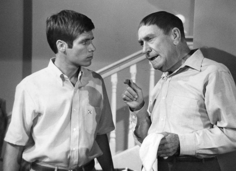 """Don Grady with William Demarest  on the set of """"My Three Sons""""   Photo: Wikimedia Commons"""