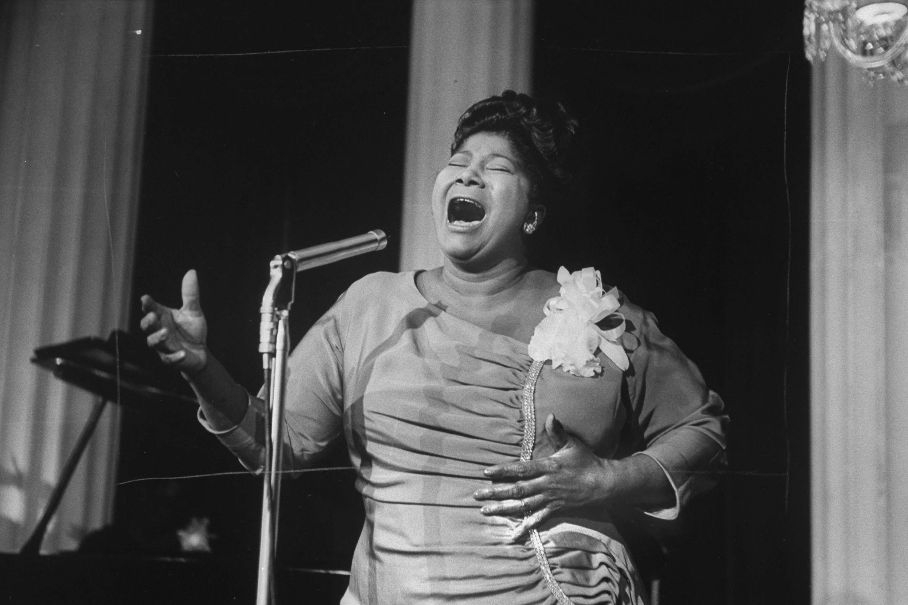 Singer Mahalia Jackson singing at a reception in a hotel.   Photo by Don Cravens/The LIFE Images Collection via Getty Images