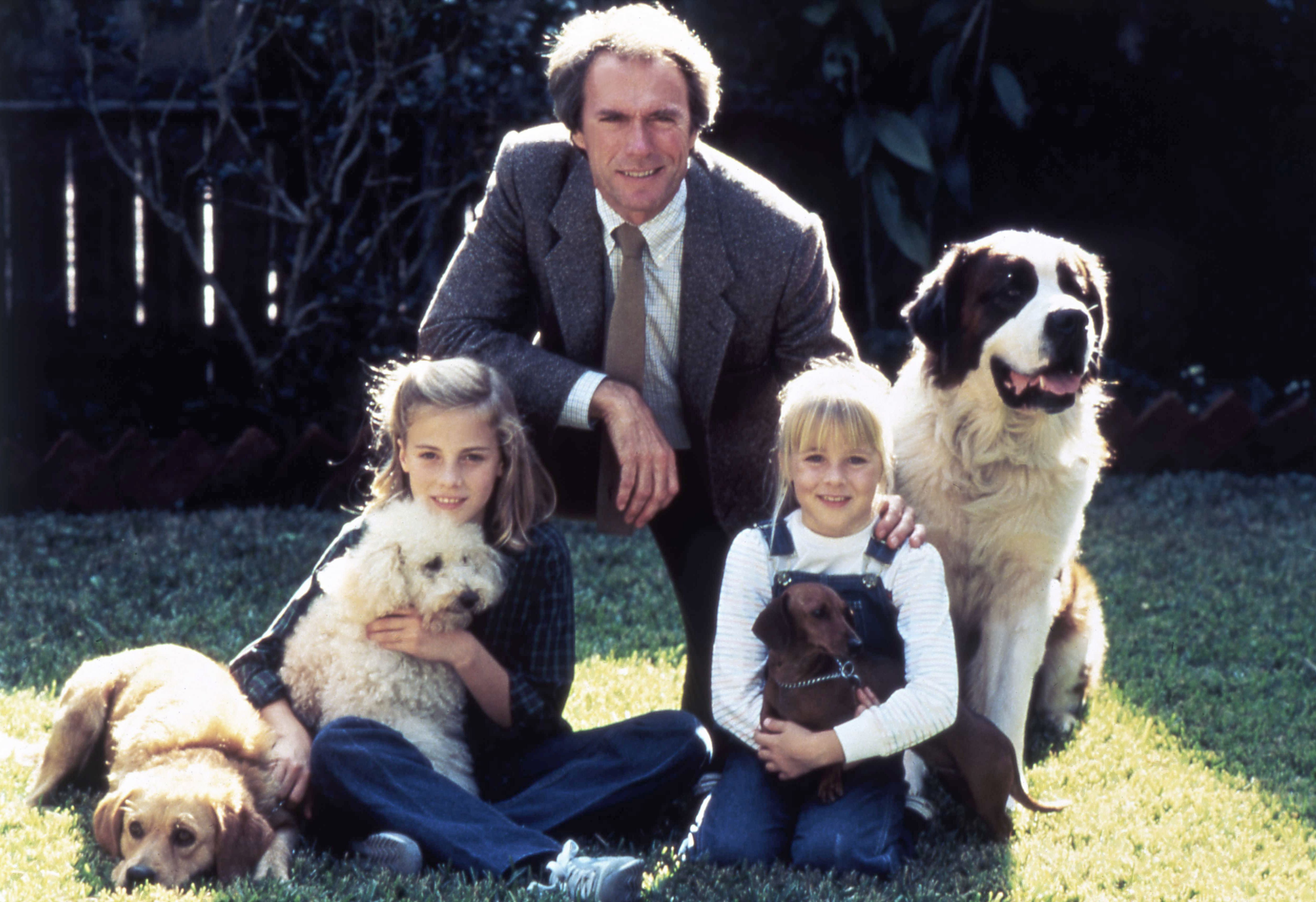 "American actor Clint Eastwood with his daughter actress Alison Eastwood, and actress Jenny Beck, on the set of ""Tightrope."" 