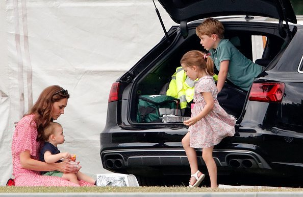 Kate Middleton, Prince Louis, Prince George, and Princess Charlotte at Billingbear Polo Club on July 10, 2019 in Wokingham, England   Photo: Getty Images