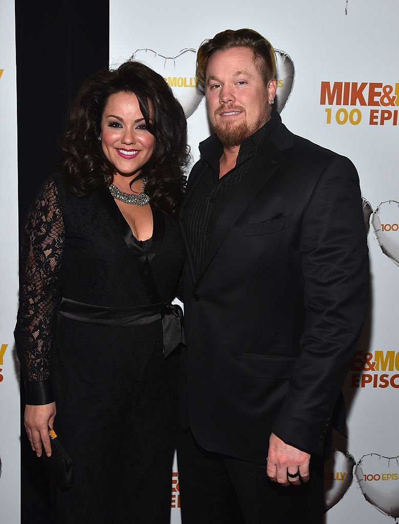 "Actress Katy Mixon and Breaux Greer attend CBS's ""Mike & Molly"" 100th Episode celebration at Cicada 