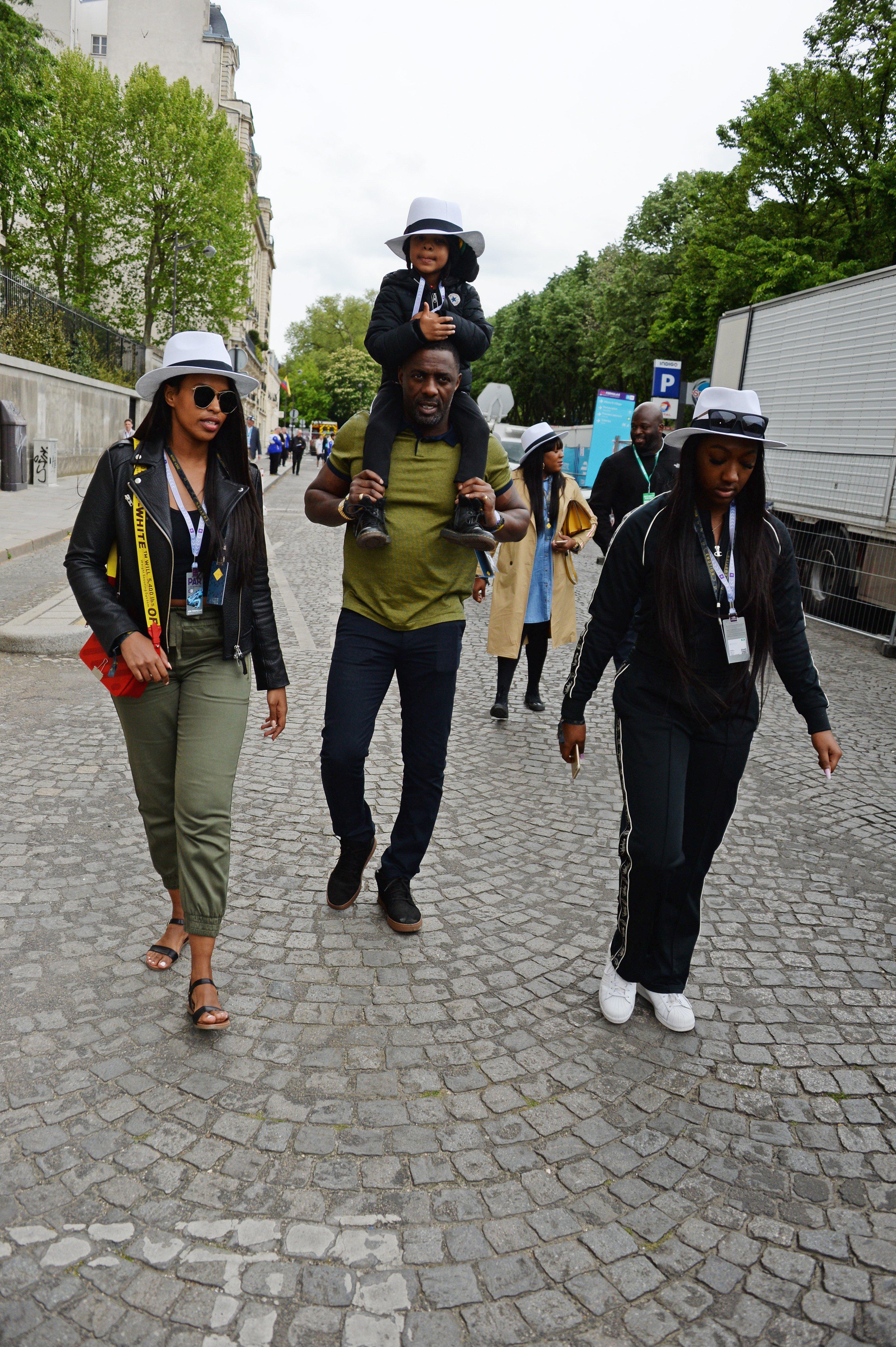 (L-R) Sabrina Elba, Idris Elba, son Winston Elba & daughter Isan Elba at the ABB FIA Formula E Qatar Airways Paris E-Prix in Paris on Apr. 28, 2018.  Photo: Getty Images