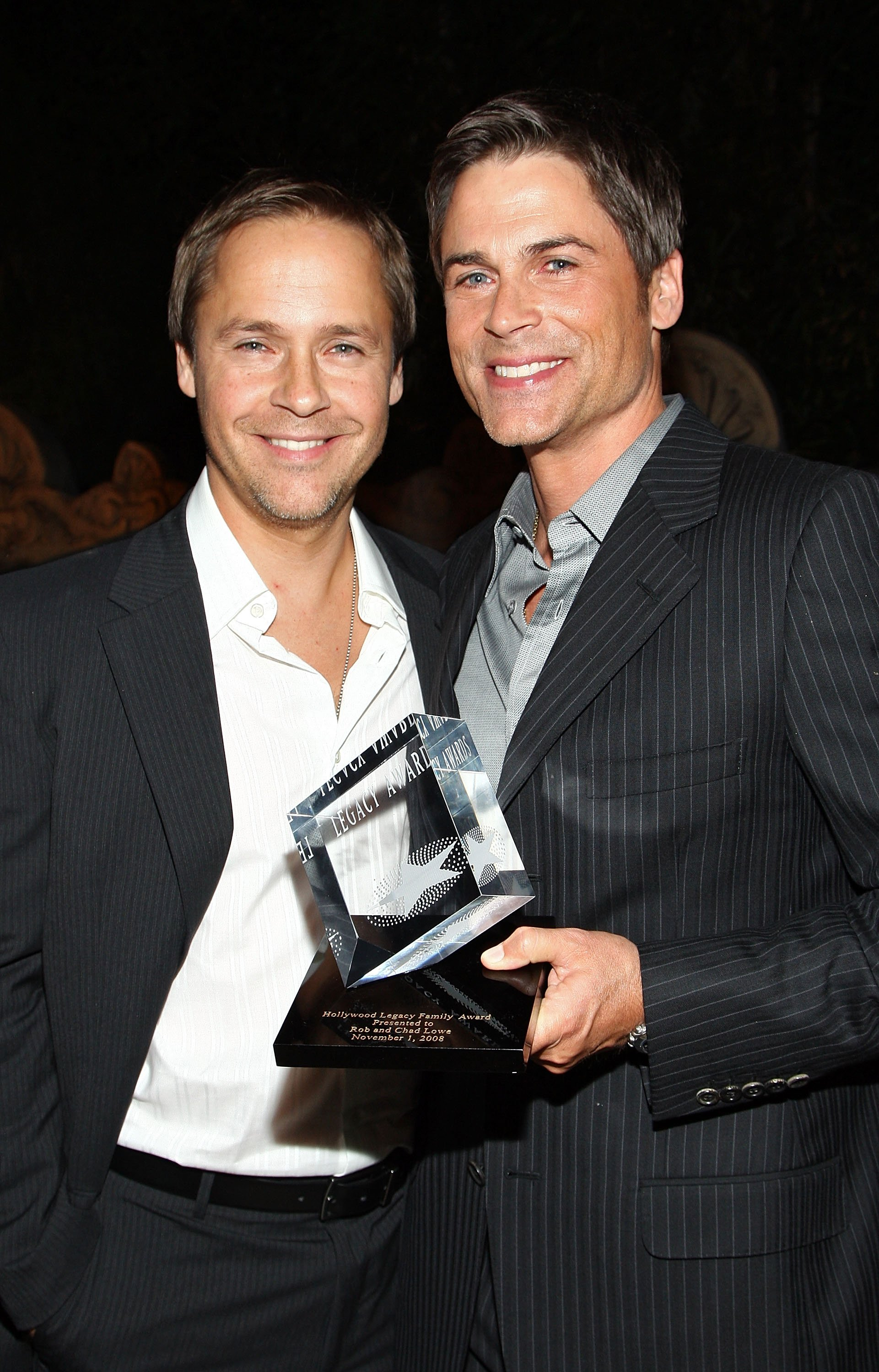 Chad (L) and Rob Lowe attend the Hollywood Entertainment Museum's Hollywood Legacy Awards XI held at the Esquire House Hollywood Hills on November 11, 2008, in Los Angeles, California. | Source: Getty Images.