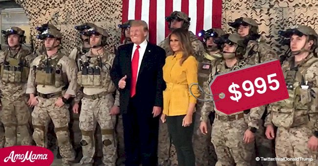 Melania Trump looks casual in jacket paired with combat boots while visiting troops with husband