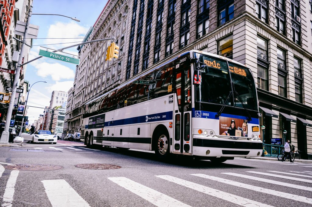 An MTA bus drove down Broadway on Tuesday, April 13, 2021 | Photo: Getty Images