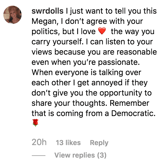 A commenter says they admire Meghan McCain despite not liking her political views | Source: instagram.com/meghanmccain