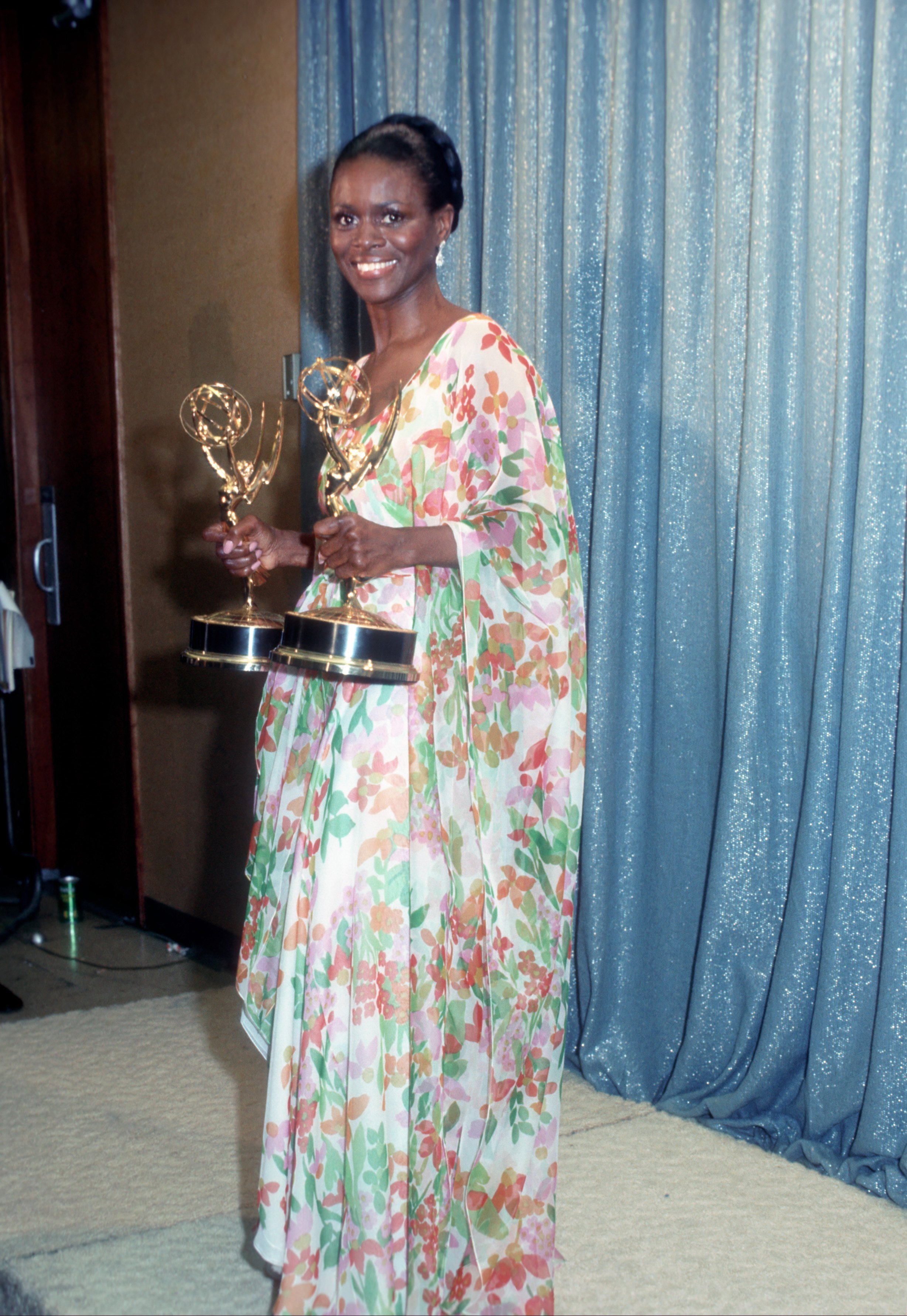 """Cicely Tyson holds the two Emmy Awards she won for her performance in """"The Autobiography Of Miss Jane Pittman"""" on May 28, 1974 in Los Angeles, California.