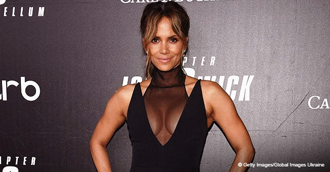 Halle Berry Flaunts Her Curves in Tight Jumpsuit with Mesh Neckline (Photo)