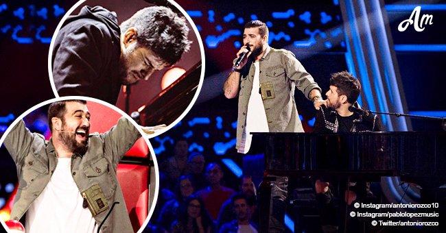 """Pablo López y Antonio Orozco aprovechan el momento para interpretar mágica canción en """"La Voz"""""""