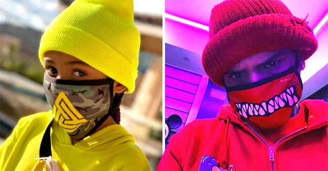 Chris Brown and Daughter Royalty Match Their Bright Face Masks with Clothes