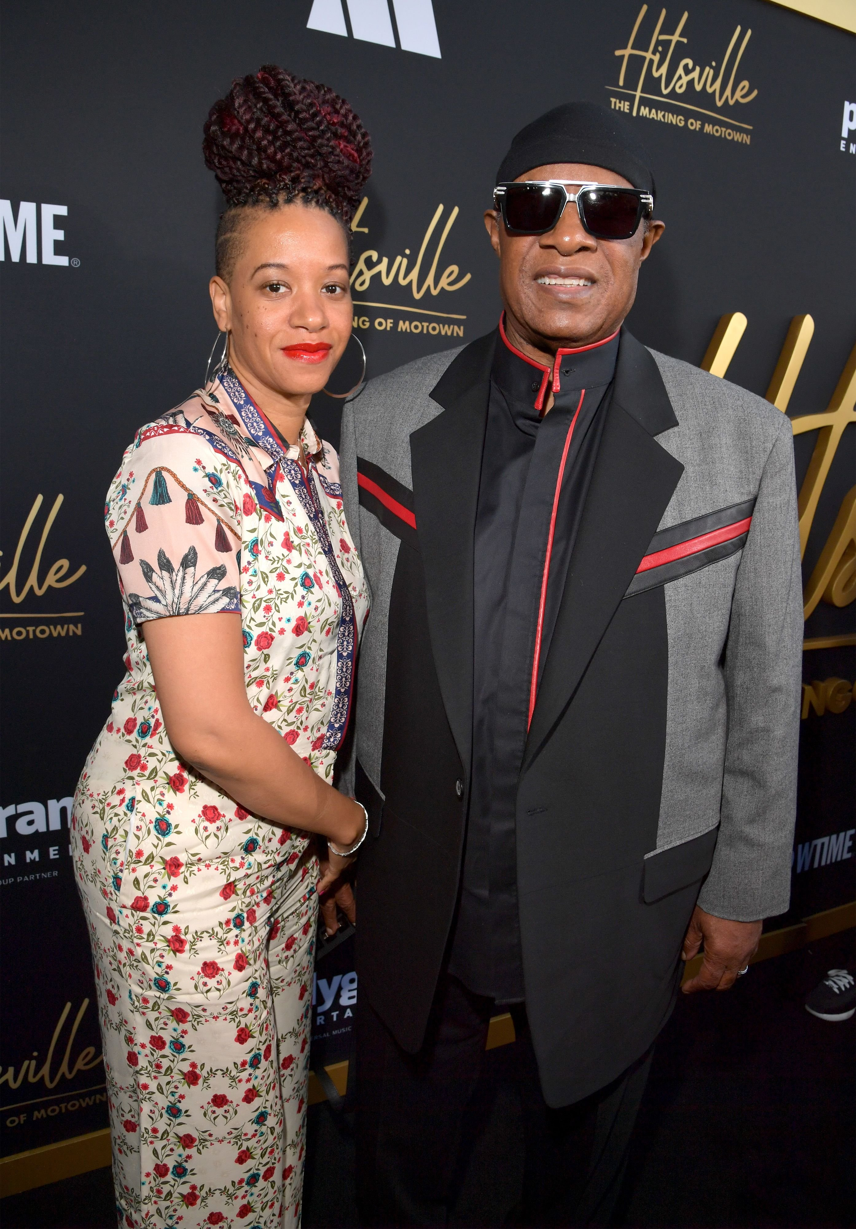 "Tomeeka Robyn Bracy and Stevie Wonder at the premiere of ""Hitsville: The Making Of Motown"" in 2019 in Los Angeles, California 