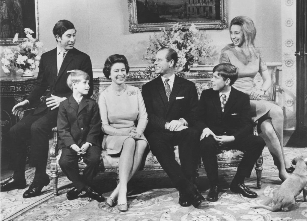 Queen Elizabeth II and the Duke of Edinburgh with their children (left to right); Charles, Prince of Wales, Prince Edward, Prince Andrew, Princess Anne celebrating their silver wedding anniversary at Buckingham Palace   Photo: Getty Images
