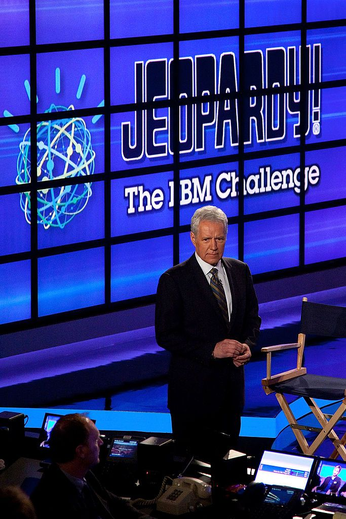 "Alex Trebek at a press conference for Man V. Machine ""Jeopardy!"" competition at the IBM T.J. Watson Research Center on January 13, 2011. 