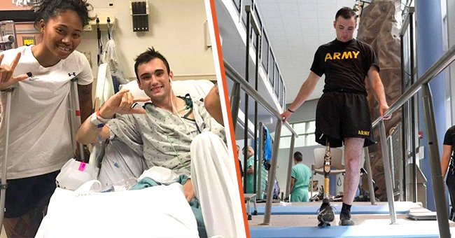A soldier who amputated his own leg to save his crew recovers in hospital and starts rehabilitation | Photo: Twitter/USArmy