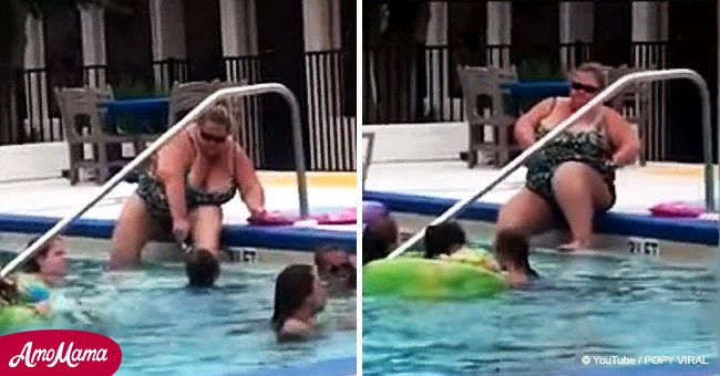 Woman caught shaving her legs in hotel swimming pool full of children