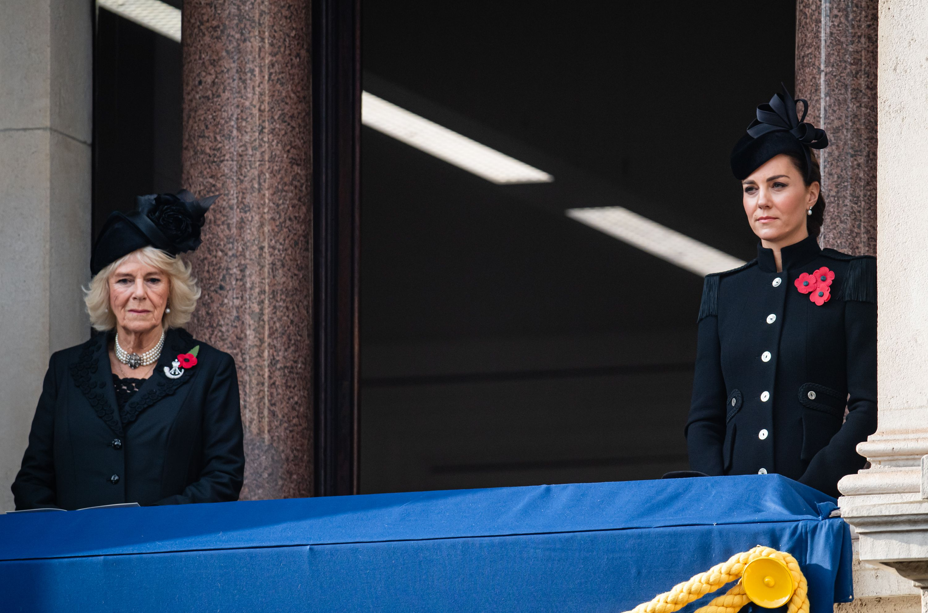 Catherine, Duchess of Cambridge and Camilla, Duchess of Cornwall at the National Service of Remembrance at The Cenotaph on November 08, 2020   Source: Getty Images