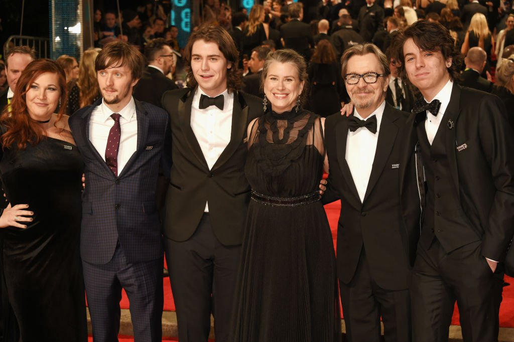 Alfie Oldman, Gulliver Oldman, Gisele Schmidt, Gary Oldman and Charlie Oldman attending the EE British Academy Film Awards (BAFTA) in London, England in 2018. I Image: Getty Images.