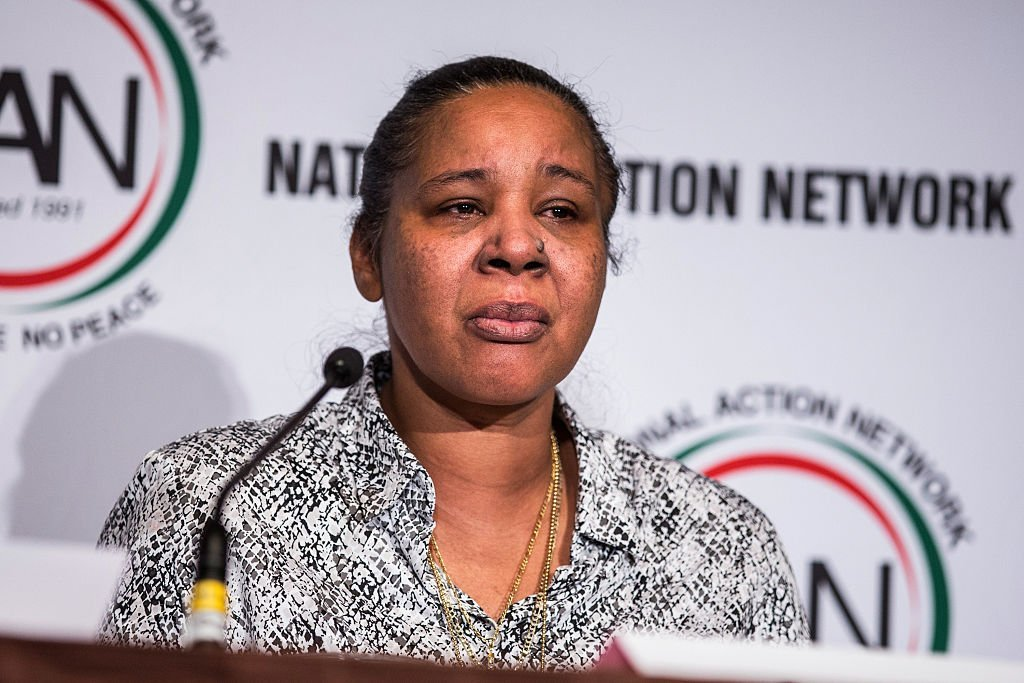"Esaw Snipes, wife of Eric Garner- who was killed by a police chokehold - speaks on a panel titled ""The Impact of Police Brutality - The Victims Speak"" at the National Action Network (NAN) national convention 
