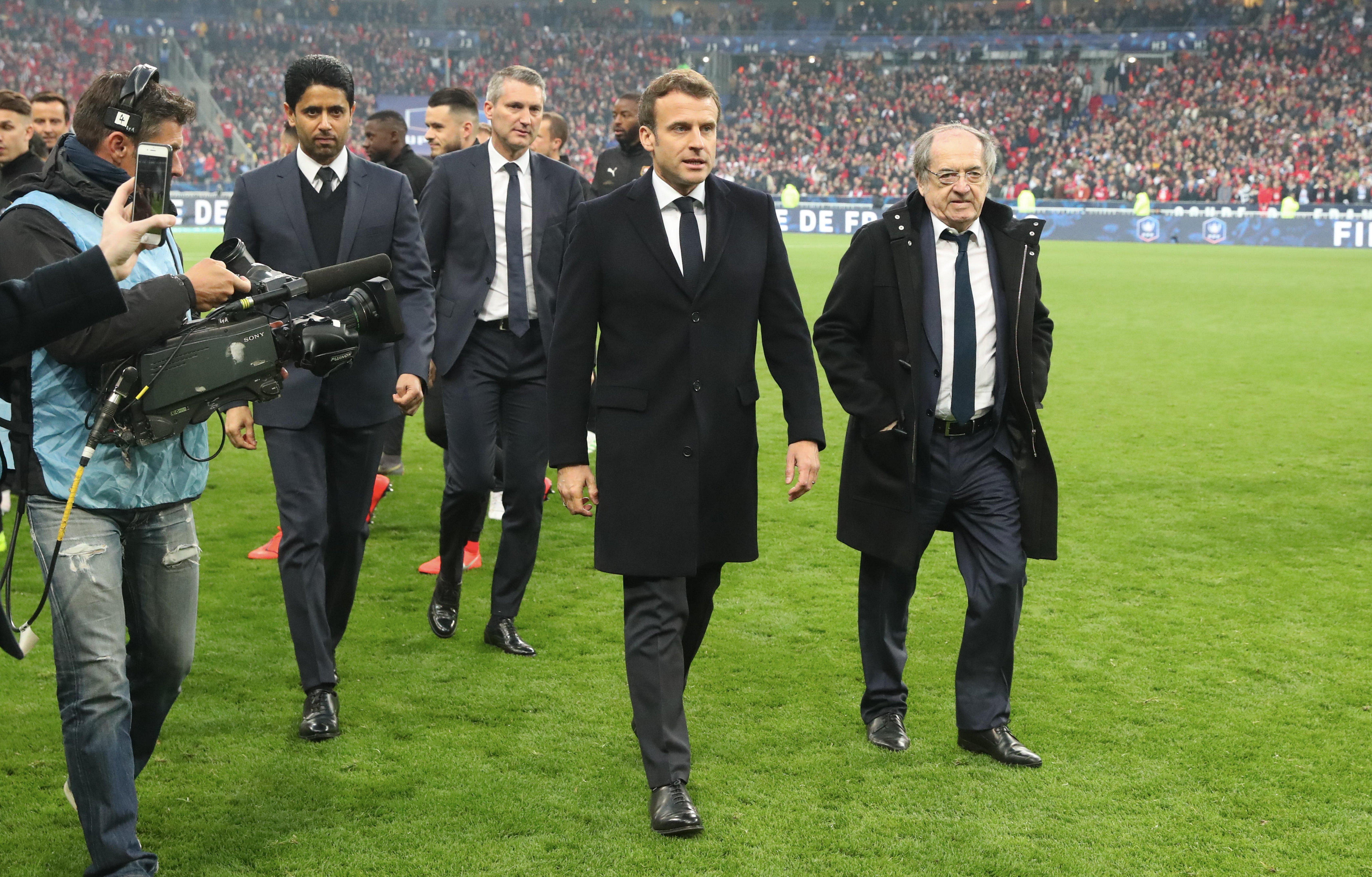 Emmanuel Macron à la fin de la Coupe de France. | Photo : Getty Images