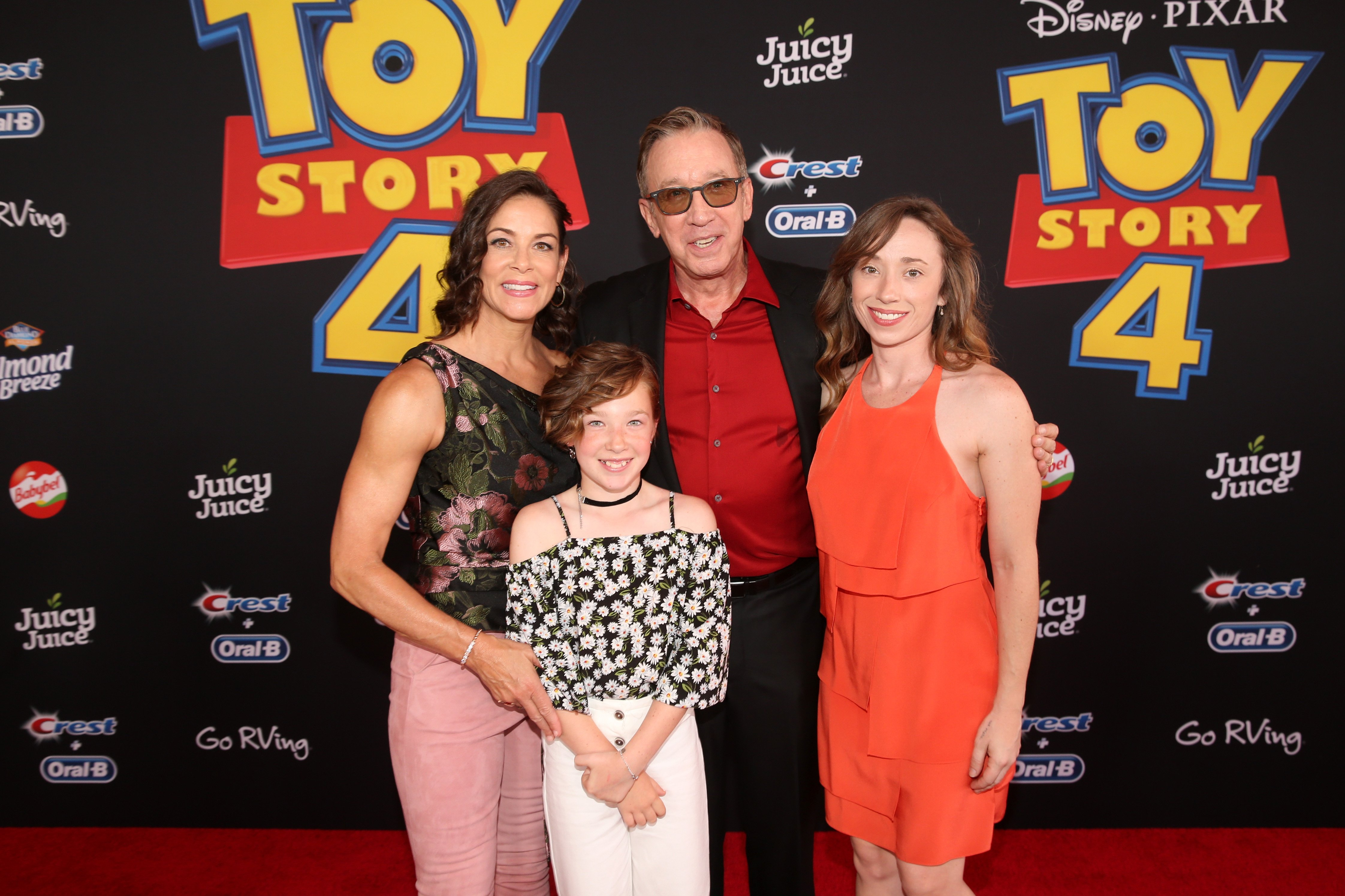 "Tim Allen, his wife Jane Hajduk, and his daughters Katherine and Elizabeth attend the premiere of ""Toy Story 4"" in Los Angeles in June 2019 