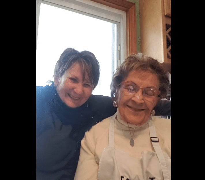 Lucy Pollock and Mary Raneri in a Facebook video uploaded on November 1, 2020   Photo: Facebook/Baking with Lucy