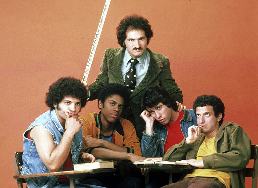 """Gabe Kaplan, John Travolta, Ron Palillo, Robert Hegyes and Lawrence-Hilton Jacobs on an episode of """"Welcome Back, Kotter"""" on September 09, 1975. 