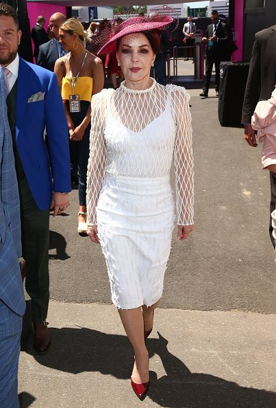 Priscilla Presley arrives at the Kennedy Marquee on Oaks Day at Flemington Racecourse on November 9, 2017 in Melbourne, Australia. | Source: Getty Images.