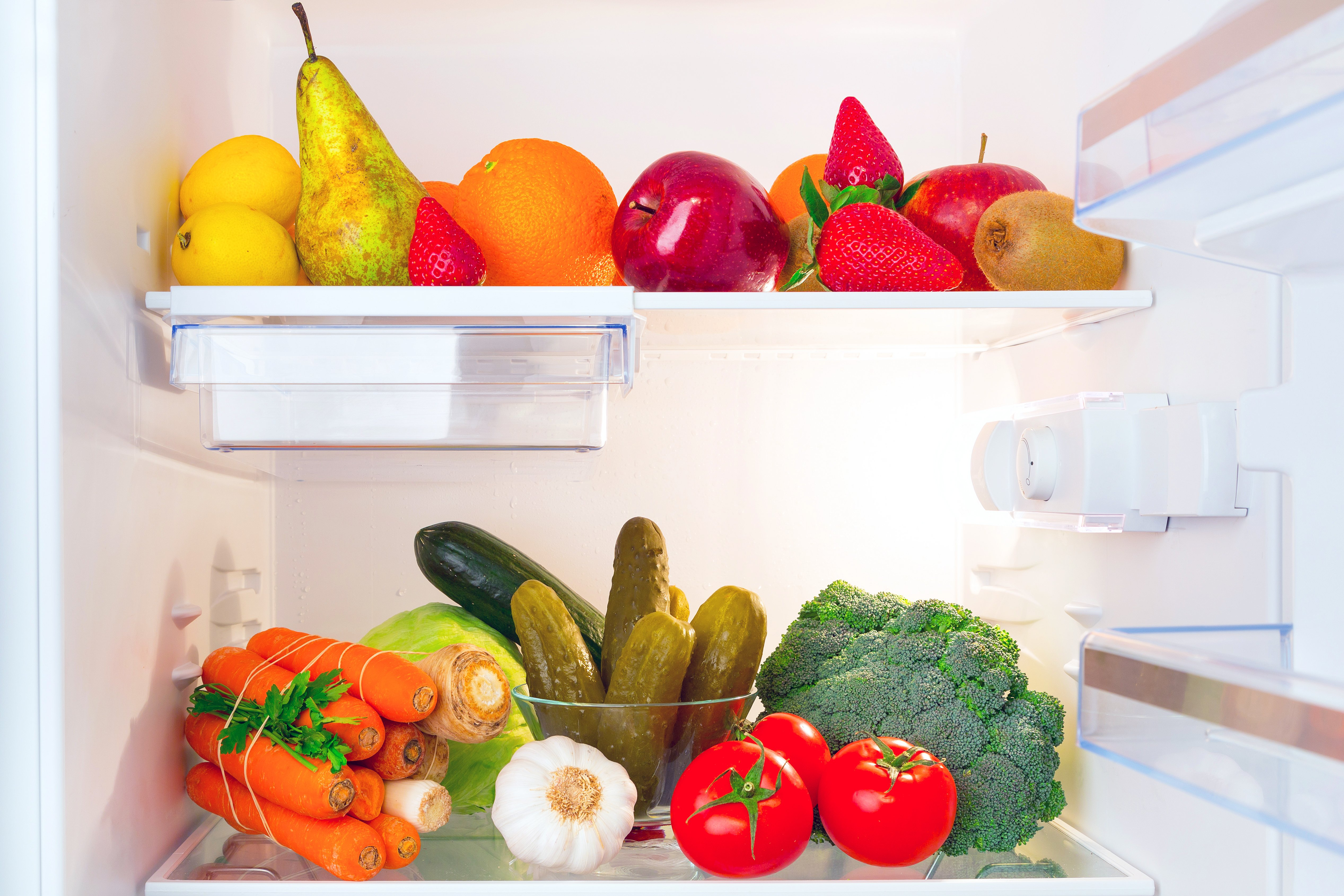 Fruits and vegetables in refrigerator   Shutterstock