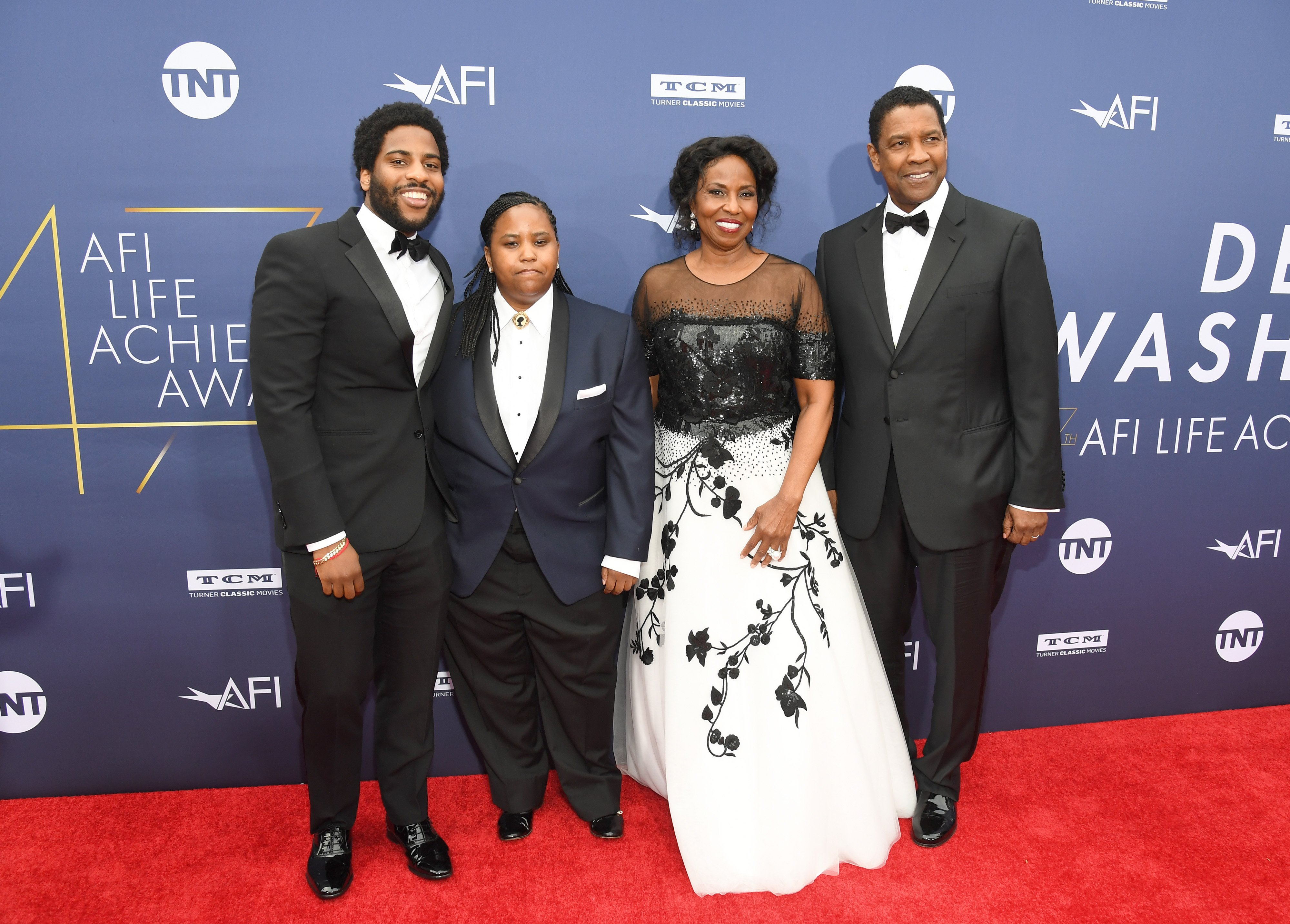 Denzel Washington is accompanied by his wife Pauletta Washington, their son Malcolm and daughter, Katia when he was honored with the 47th American Film Institute's Lifetime Achievement Award in Hollywood on June 6, 2019. | Photo: Getty Images