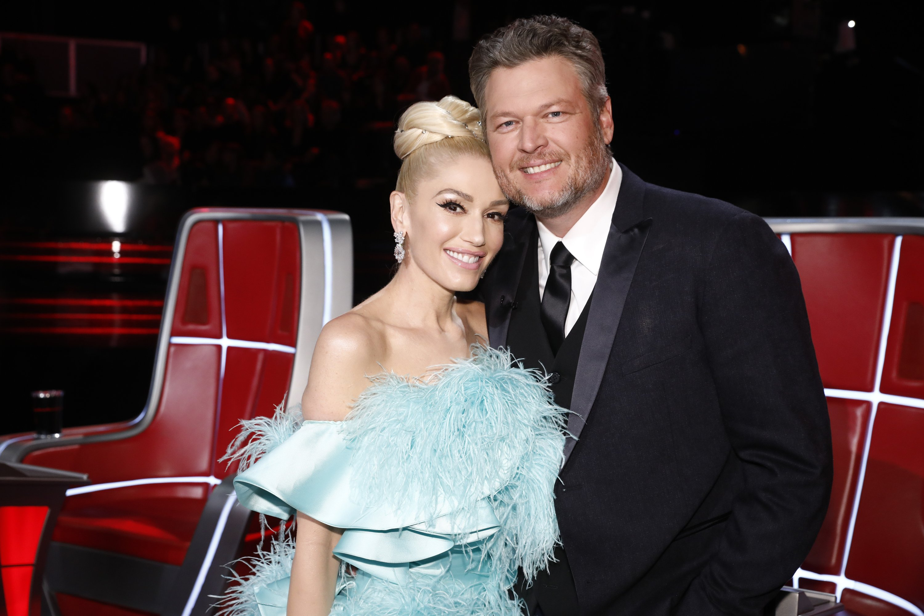 """Gwen Stefani and Blake Shelton on the set of """"The Voice."""" 