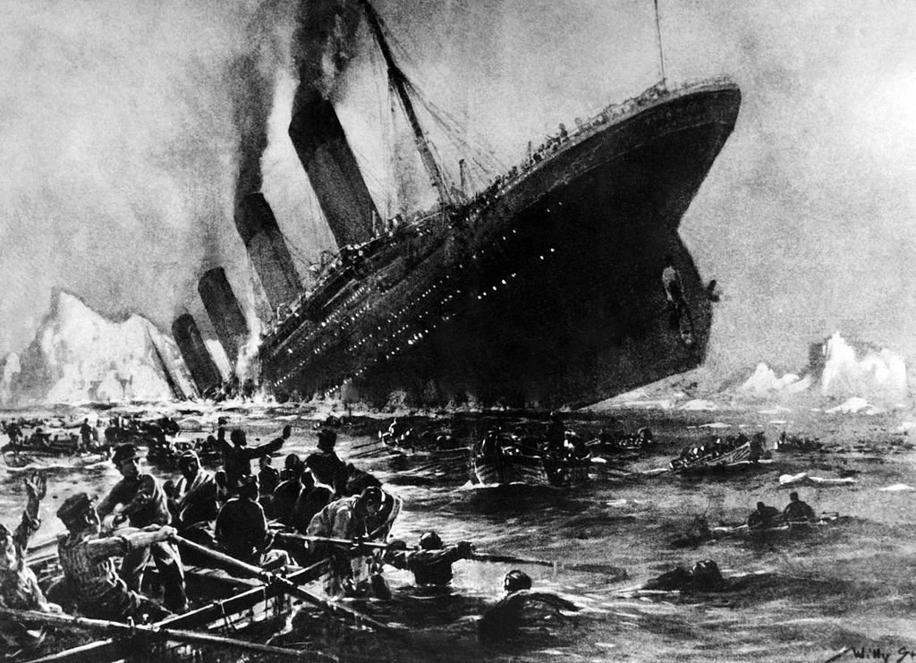 Am unnamed artist's impression of the Titanic shipwreck off the Nova-Scotia coasts, during its maiden voyage. | Source: Getty Images