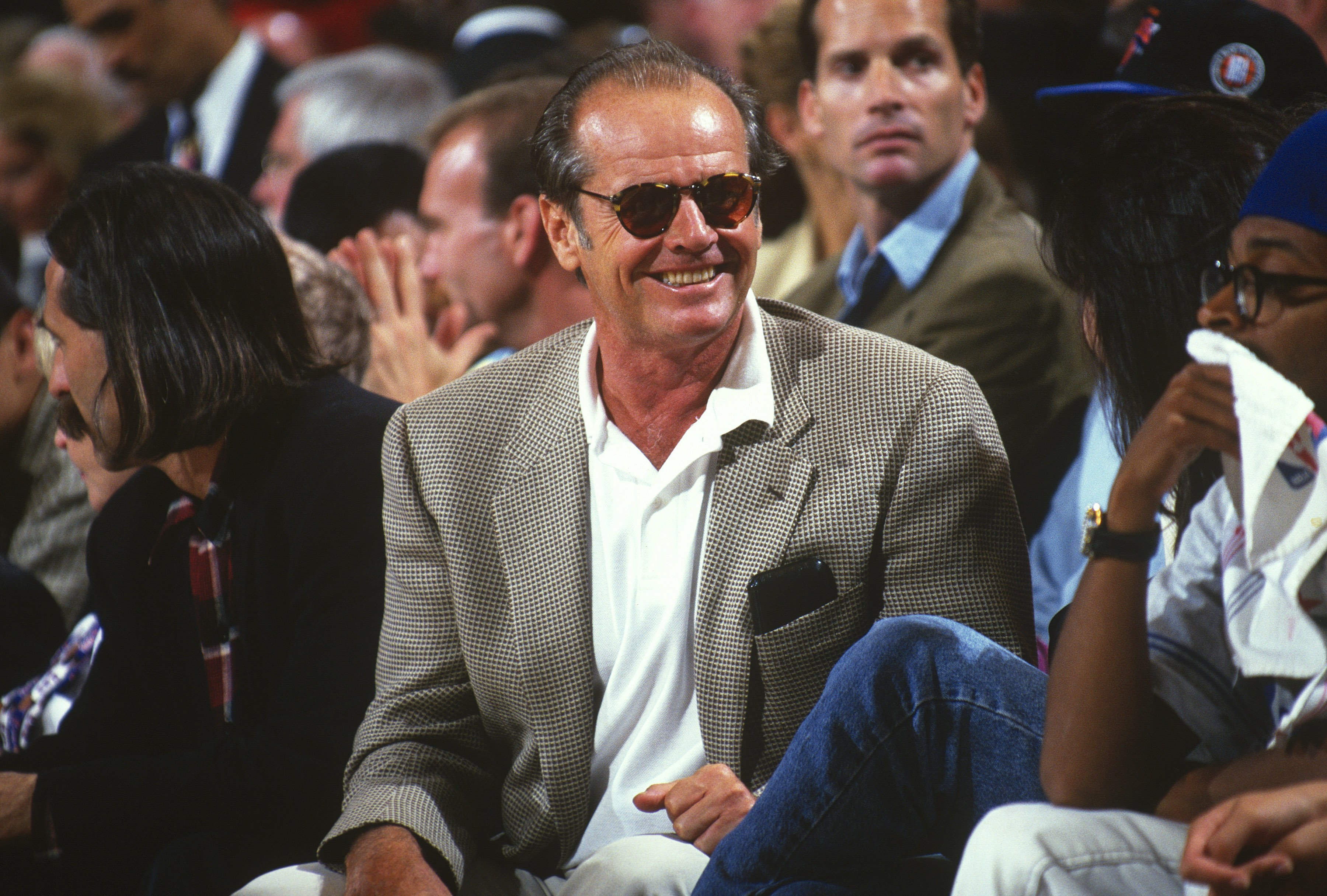 Jack Nicholson looks on during the 1994 NBA Finals between the Houston Rockets and the New York Knicks at Madison Square Garden in the Manhattan Borough of New York City circa 1994. | Source: Getty Images.