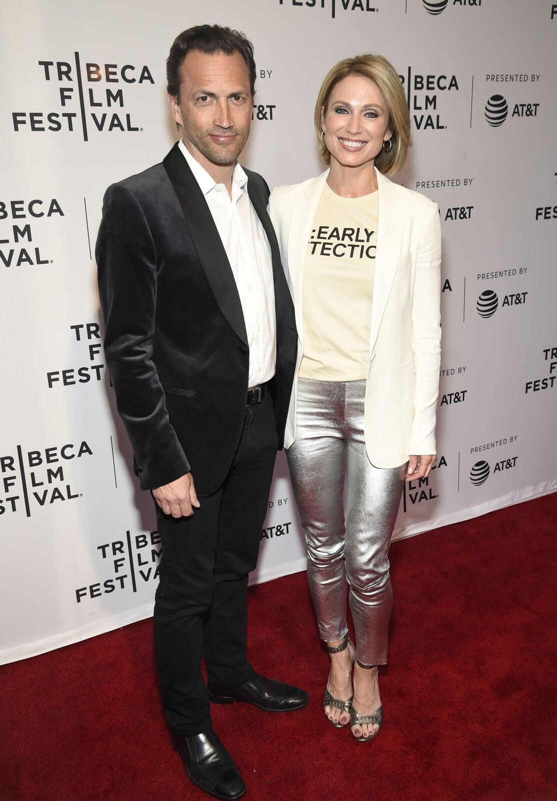 "Andrew Shue and Amy Robach at the HBO Documentary Film ""RX: Early Detection A Cancer Journey With Sandra Lee"" at the Tribeca Film Festival  in 2018 