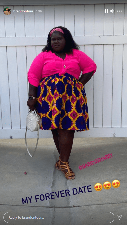 Brandon Frankel flaunts his boo Gabby Sidibe in her date outfit.   Photo: Instagram/brandontour