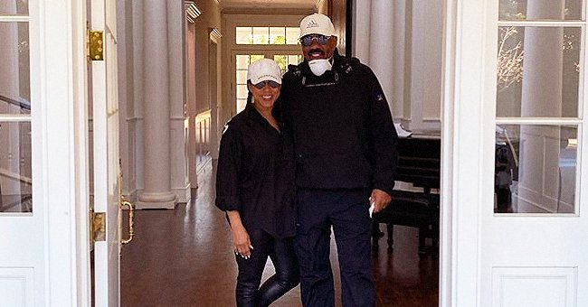 Steve Harvey & Wife Marjorie Pose in Face Masks after Heading Home to Atlanta Amid Pandemic